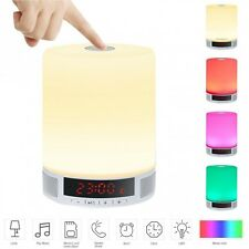 Bluetooth Rechargable Multi Colour Night Light Led Lamp Alarm Clock Speaker