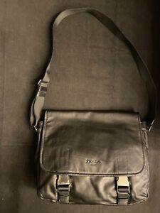 Prada $1050 Crossbody Black Leather Messenger Bag VA0784