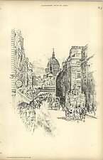 1893, Fleet Street In The Time Of Queen Victoria, Raffles Davison Sketch