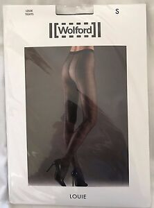 Wolford Womens Louie Navy Black Tights Size Small Style 14481