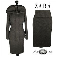 142 ZARA size L & XL 14 16 Brown Tweed Heavy Wool Pencil Skirt Suit Coat Ladies
