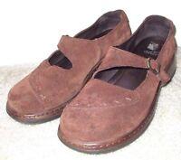 EUC Women's Size 40 / 9 - 9.5 Dansko Fran Brown Suede Mary Jane Buckle Shoes