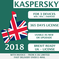 Kaspersky Internet Security 2018 UK [3 PC, 3 Devices - KEY - ESD]