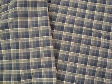 """3 yds Country CHECK FABRIC Shirting Navy 5 oz WOVEN COTTON Quilt 45"""" x 108"""" BTP"""