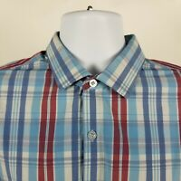 Mizzen Main Trim Fit Mens Blue REd Plaid Check Dress Button Shirt Sz Large L