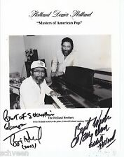 Holland Dozier Holland Motown signed photo rare by Holland Brothers