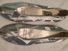Daniel Green Silver Satin Leisure Footwear Sz 7 Made In Usa New Reduced
