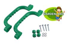Green HAND GRIPS GRAB HANDLES (Set of 2) Climbing Frame Playhouse Tree House