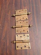 Ms 16 Three Matching Four-Inch By Four-Inch Decorative 1870S Bronze Hinges