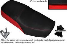 Negro Y Rojo Custom encaja Suzuki Gn 125 94-01 Cuero Doble cubierta de asiento solamente