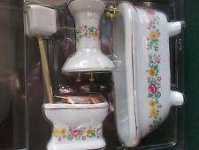 1 12 Scale Dolls House Miniatures Floral Bathroom Set DF319