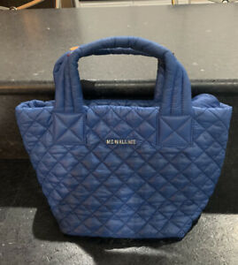 MZ Wallace Mini METRO Tote Navy Blue Bag XS Leather Trim, Read Description