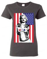 Marilyn Monroe American flag WOMAN T-SHIRT American Patriotism USA flag tee