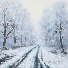 J. Litvinas Original Oil Painting 'WINTER ROAD' 10 by 10 inches