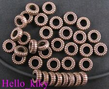 120 pcs Antiqued copper striate circle spacers A978