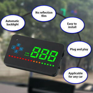 "3.5"" Digital GPS Speedometer HUD Head Up Display Car Trucks Speed Warning UK"