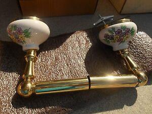 NOS HARDEN Solid Brass & Hand Painted and Signed Floral Porcelain Tissue Holder