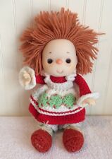 Strawberry Shortcake Knit Doll Handmade? Rubber Face Red White Green 11""