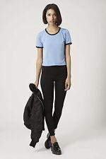 Topshop Camiseta Top Corto ribete de contraste, tamaño de Reino Unido 10