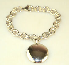 """HEAVY STERLING SILVER ROLO LINK 7.5"""" STARTER BRACELET WITH 7/8"""" ROUND DISK CHARM"""
