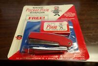 Vintage Bates Pocket Pixie Red Stapler + 1000 Staples + Case NEW SEALED NOS