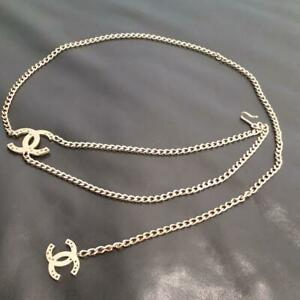CHANEL CHAIN BELT Gold Plated Double Chain Stars Perforated CC Logo Motif 05A