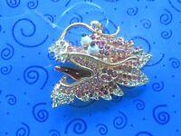 Power Protection:Pretty Pink Rhinestone Betsey Johnson Dragon Pendant Necklace
