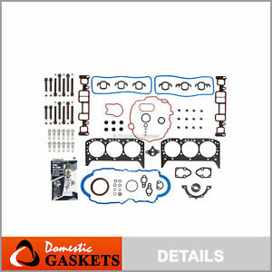Fits 96-06 4.3L Chevrolet Astro S10 GMC Full Gasket Set Bolts V6 OHV VIN X, W