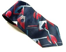 HALSTON III Neck Tie BLUE Red SILVER Shapes Necktie 100% SILK Italian Made USA