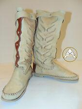 USATO RICCIONE 40 Scarpe Stivale 7 6 Donna Bianco Marrone Cowboy Alto Pelle