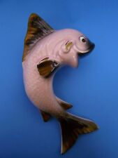 """Vintage Ceramic FISH WALL POCKET Large 9.75"""" Inch PINK, GRAY & GOLD Shabby Chic"""
