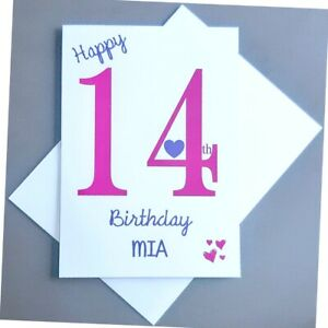 Personalised 14th Birthday Card Girl - 14 Years Old Daughter Granddaughter Niece