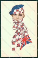 WW1 WWI Propaganda Lady British Flag Nanni cartolina XF6694