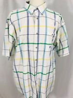 WRANGLER Twenty X Mens Short Sleeve Button Front Shirt 2XL XXL White Stripes
