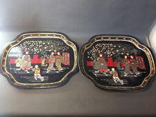 Lot 2 ancien plateaux de service en métal vintage décor japonisant déco cuisine