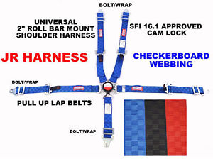 "QUARTER MIDGET HARNESS 2"" SFI 16.1 PULL UP LAP BELT CAM LOCK BLUE CHECKERBOARD"