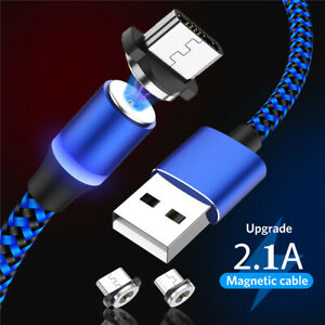 3 Pack 3FT/6FT Nylon Magnetic LED Fast Type C Micro Charging Cable For Android