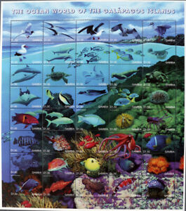 THE GAMBIA-MARINE LIFE OF THE GALAPAGOS IS.-1M/Sh.MNH**,GHB 17/L