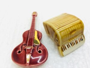 Vintage Arcadia Smalls Salt & Pepper Shakers Set Guitar & Accordion 1 Owner NICE