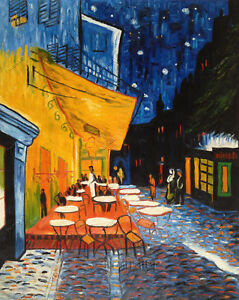 Van Gogh Cafe Terrace at Night Oil Painting Museum Hand-Painted Canvas 24x30 in