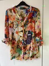Donna DESIGUAL Multi Colore Camicia XL Extra Large 14 nuovo senza etichetta 100% Modal