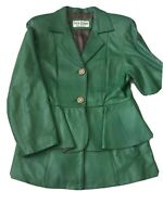Arctic Ocean Italy Fashion Women's Sz M Green 3 Button Jacket Pinch waist skirt