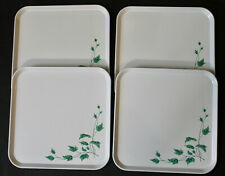 "Lot 4 Vtg White / Green Ivy Metal Snack Picnic Tv Trays 10 3/4"" Square Excellent"