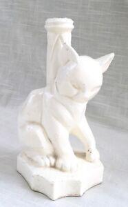 Vintage Ceramic Modern Cubist Cat Lamp Base
