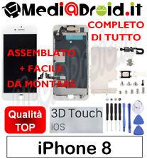 APPLE IPHONE 8 BIANCO VETRO 3D DISPLAY LCD SCHERMO COMPLETO ASSEMBLATO ORIGINAL