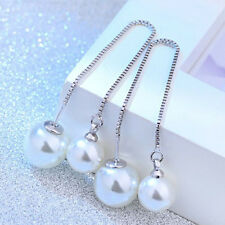 1Pair Long Tassel Pearl Ear Line Anti Allergic Chic Fashion Women Earrings New