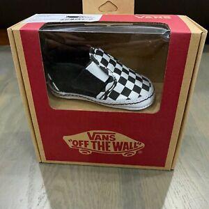 Vans Slip On V Crib Black True White Checkerboard Baby Shoes Size 1 Soft Bottom