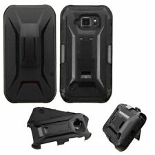 For Samsung Galaxy S6 Active Black Hard Silicone Hybrid Plastic Case Holster