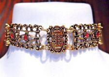 GOLD-TONE FILIGREE METAL CHOKER Roman red stone steampunk boho necklace T6