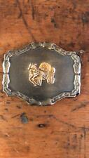 VINTAGE 1970s Covered Wagon and Horse Old West Belt Buckle